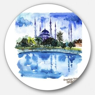 Designart 'Istanbul Hand-drawn Illustration' Cityscape Painting Round Metal Wall Art