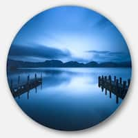 Designart 'Dark Blue Sea and Piers' Seascape Photo Round Wall Art