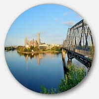 Designart 'Ottawa Morning Panorama' Cityscape Photo Round Wall Art