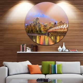Designart 'Calgary at Night' Cityscape Photography Disc Metal Artwork