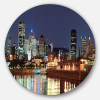 Designart 'Bright Montreal at Dusk' Cityscape Photography Disc Metal Wall Art