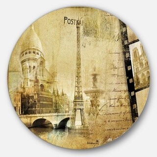 Designart 'Paris Memories' Vintage Contemporary Large Disc Metal Wall art