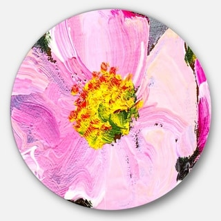 Designart 'Pink Flower Oil Painting' Floral Art Painting Circle Wall Art