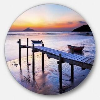 Designart 'Old Wooden Pier at Sunset' Seascape Photo Circle Wall Art