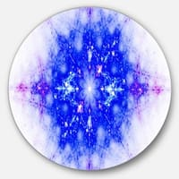 Designart 'Blue Illustration Pattern' Abstract Digital Art Round Wall Art