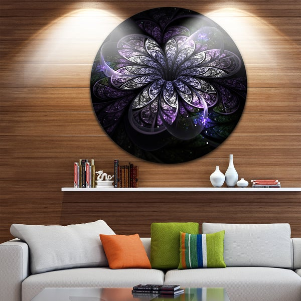 Designart 'Green Fractal Flower in Dark' Floral Digital Art Circle Wall Art