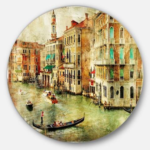 Designart 'Vintage Venice' Digital Art Landscape Round Wall Art