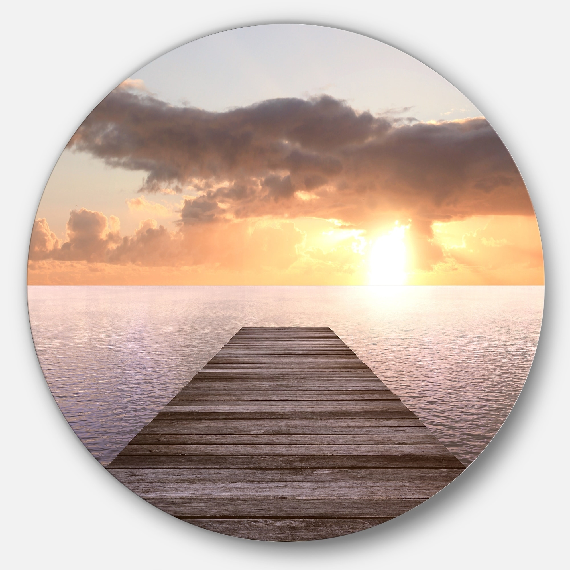 Shop Designart Yellow Sea And Brown Pier Seascape Photo Round Metal Wall Art Overstock 14264365