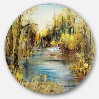 Designart 'Lake in Forest Oil Painting' Landscape Painting Round Metal Wall Art