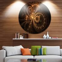 Designart 'Green Fractal Flower in Dark' Floral Digital Art Round Metal Wall Art