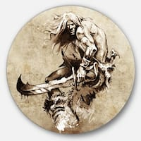 Designart 'Warrior Fighting Tattoo Art' Portrait Digital Art Disc Metal Artwork