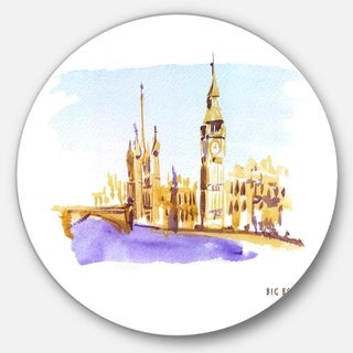 Designart 'London Brown Illustration' Cityscape Painting Round Metal Wall Art (4 options available)