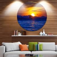 Designart 'Old Wooden Pavilion in Sea' Seascape Photo Round Wall Art