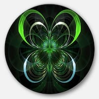 Designart 'Green Fractal Flower in Dark' Floral Digital Art Round Wall Art