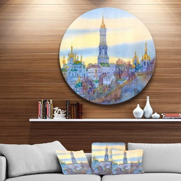 Designart Monastery On Steep Hill Cityscape Disc Metal Artwork Overstock 14264406