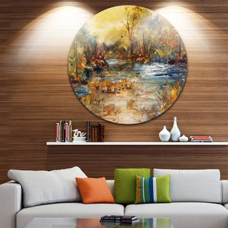 Designart 'River in Forest Oil Painting' Landscape Painting Disc Metal Wall Art