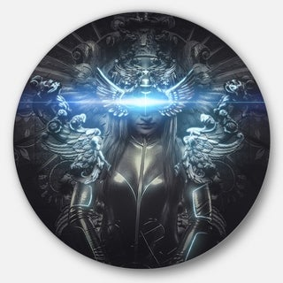 Designart 'Woman Suit with Relief' Abstract Digital Art Round Wall Art