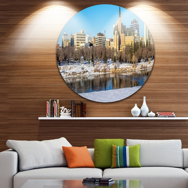 Designart 'Saskatoon Skyline' Landscape Photo Round Wall Art