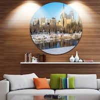 Designart 'Saskatoon Skyline' Landscape Photo Round Wall Art