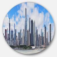 Designart 'Chicago City Urban Skyline' Photo Round Wall Art