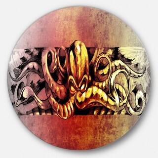 Designart 'Octopus Sketch in Yellow Shade' Animal Digital Art Disc Metal Artwork