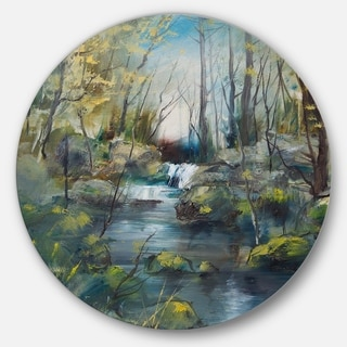 Designart 'Brook and Rocks Oil Painting' Landscape Painting Circle Wall Art
