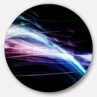 Designart 'Purple Blue Lines in Black' Abstract Digital Art Large Disc Metal Wall art
