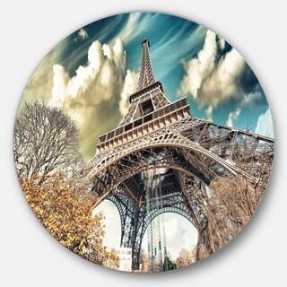 Designart 'Street View of Eiffel Tower' Cityscape Digital Art Large Disc Metal Wall art