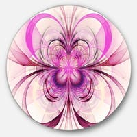 Designart 'Purple Fractal Flower Pattern' Floral Digital Art Circle Wall Art