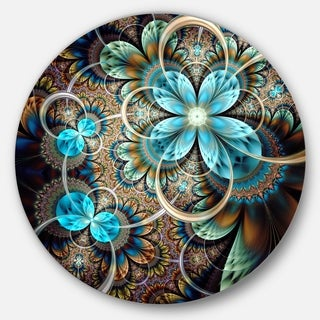 Designart 'Colorful Fractal Flowers with Blue Shade' Digital Art Round Wall Art