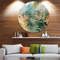 Designart 'Rocky River' Landscape Painting Round Metal Wall Art