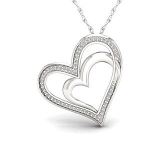 1/6ct TDW Diamond Heart Necklace in Sterling Silver - White