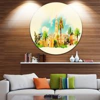 Designart 'Marakesh Panoramic View' Cityscape Watercolor Large Disc Metal Wall art