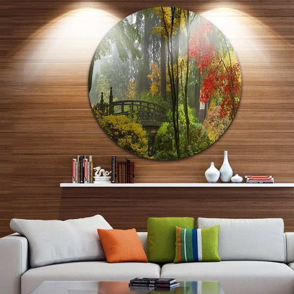 Shop Designart Japanese Wooden Bridge In Fall Photo Disc Metal