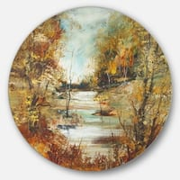 Designart 'Brown River in Forest' Landscape Painting Round Wall Art