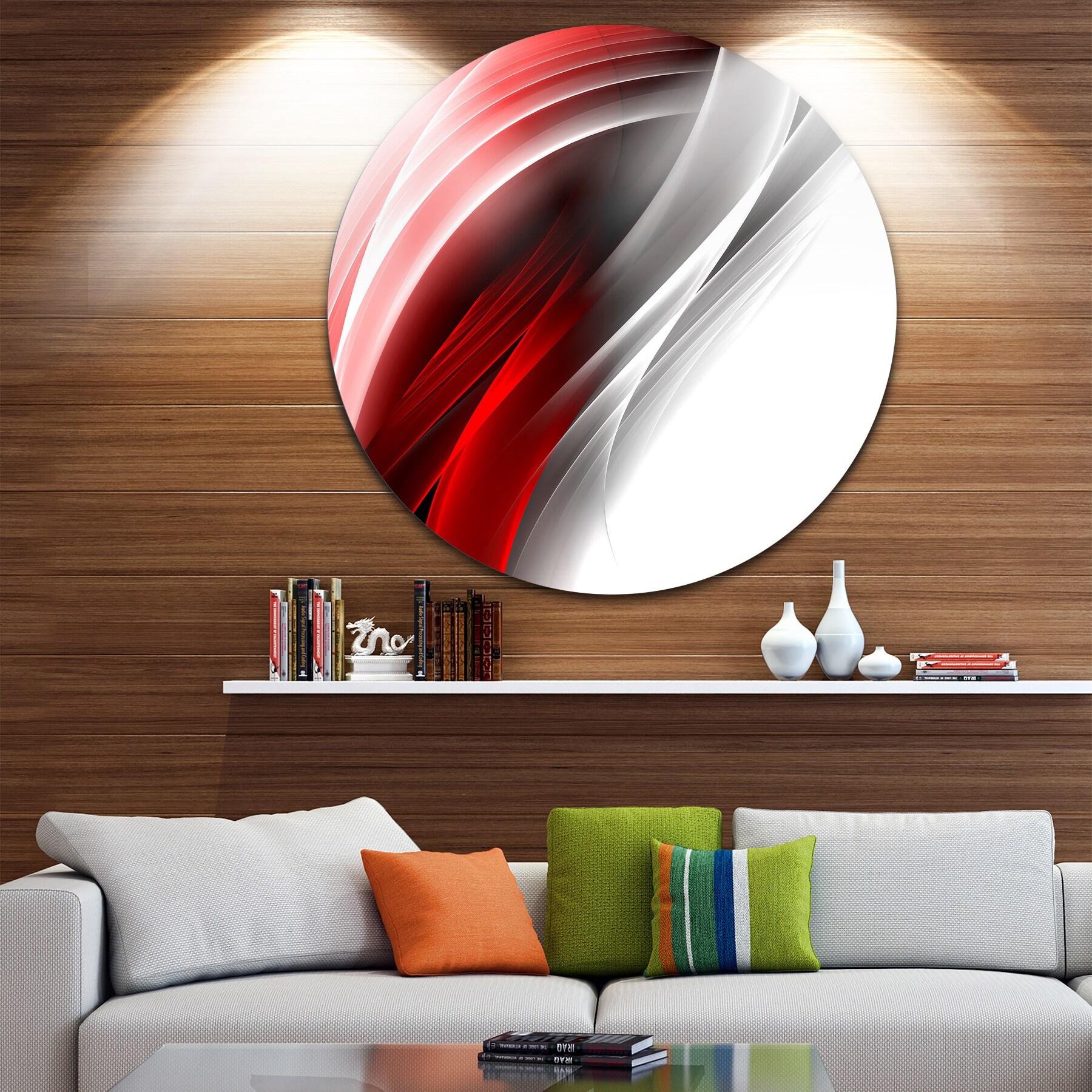 Designart 3d Pink Silver Vertical Lines Abstract Digital Art Round Metal Wall Art