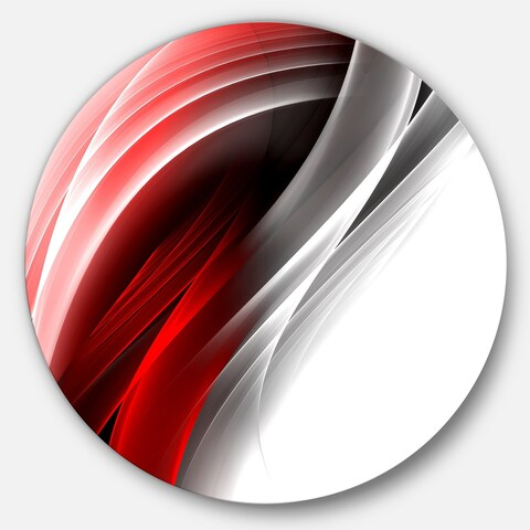 Designart '3D Pink Silver Vertical Lines' Abstract Digital Art Round Metal Wall Art