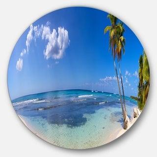 Designart 'Paradise Beach Panorama' Landscape Photo Disc Metal Artwork