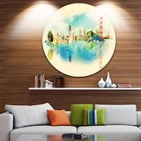 Designart 'San Francisco Panoramic View' Cityscape Watercolor Circle Wall Art