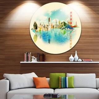 Designart 'San Francisco Panoramic View' Cityscape Watercolor Circle Wall Art (4 options available)