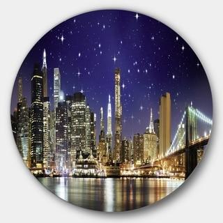Designart 'Night Colors over Brooklyn Bridge' Cityscape Photo Disc Metal Artwork