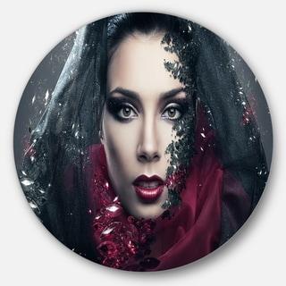 Designart 'Mysterious Woman' Portrait Contemporary Large Disc Metal Wall art