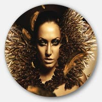 Designart 'Sexy Brunette' Digital Art Portrait Disc Metal Wall Art