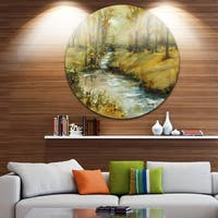 Designart 'Brook in Autumn Oil Painting' Landscape Painting Round Metal Wall Art