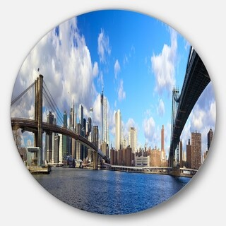 Designart 'Bright Manhattan Day Panorama' Cityscape Photo Disc Metal Artwork