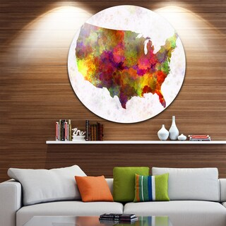 Designart 'United States Map in Colors' Watercolor Painting Round Wall Art