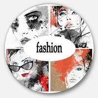 Designart 'Collage of Girls' Portrait Digital Art Large Disc Metal Wall art