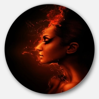 Designart 'Burning Woman Head' Portrait Contemporary Circle Wall Art