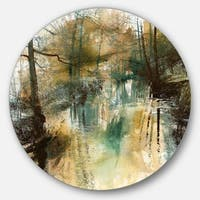 Designart 'River and Trees Oil Painting' Landscape Painting Large Disc Metal Wall art
