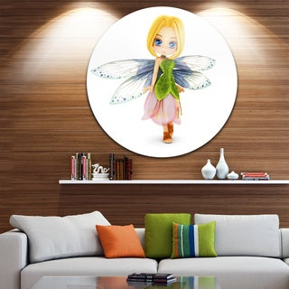 Designart 'Fairy Woman with Blue Wings' Floral Painting Large Disc Metal Wall art